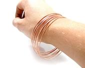 Thin Copper Bangle - Fine Copper Bangle - ONE BANGLE - Hammered Copper Bangle - Narrow Copper Bracelet - Stackable Copper Bracelet Rustic