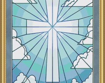 Cross Stitch Pattern Beautiful Stained Glass Cross Instant Download PdF