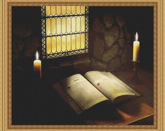 The Book Bible in Candlelight Cross in Clouds Cross Stitch Pattern -Instant Download pdf