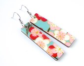Turquoise and Red Earrings, Japanese Paper, Flower Earrings, Cherry Blossoms, Chiyogami, Washi, Laser Cut Wood, Lightweight, Gift Under 20