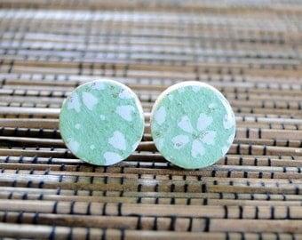Mint Stud Earrings, Japanese Chiyogami, Wood studs, Gift under 10, Mint earrings