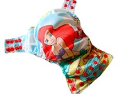 Little Mermaid XS Newborn AIO Cloth Diaper with a Bamboo Organic Cotton soaker pad