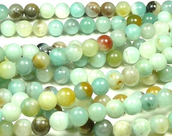 6mm Flower Amazonite Natural Gemstone Round Beads - 16 Inch Strand - Multicolor Beads - BC32
