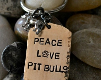 Peace Love Pit Bulls Handstamped Keychain