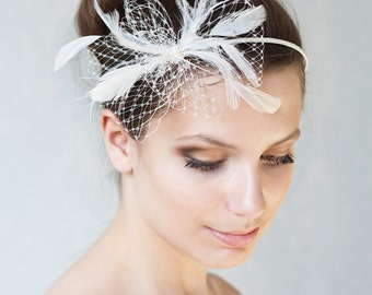 Bridal feather headband with veiling pouf, bridal feather hairpiece