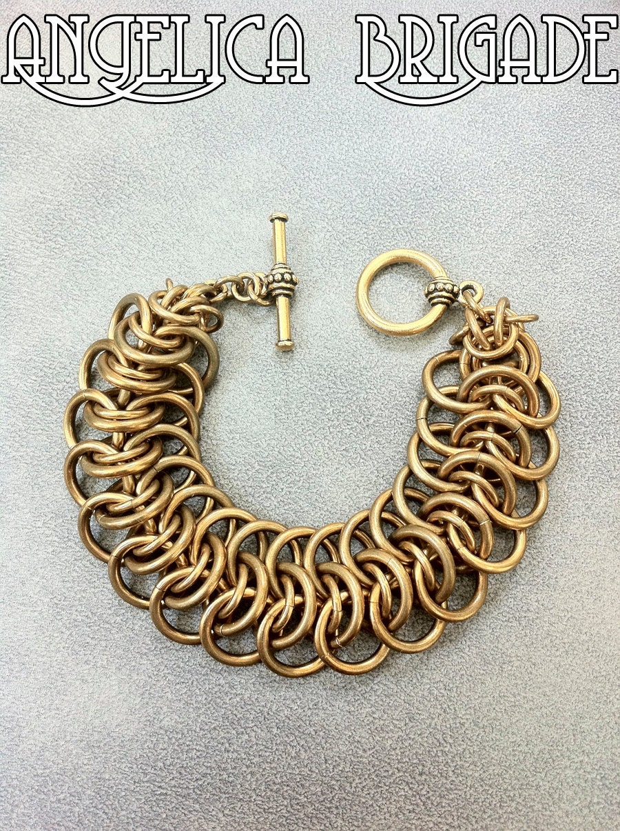 Bold & Chunky Antiqued Brass Chain Maille Bracelet / Cuff by AngelicaBrigade Angelica Brigade Vertebrae Weave Chainmaille jewelry Chainmail Jewellery