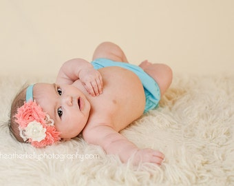 Vintage Coral and Turquoise Chiffon Flower headbands, baby flower headbands, chiffon headbands, newborn headbands, photography prop