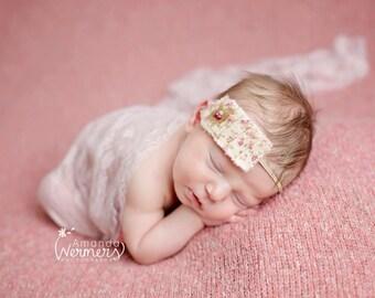 Vintage Floral Pleated  headband, baby headbands, newborn headbands, shabby chic headbands, photography prop, beige  headbands