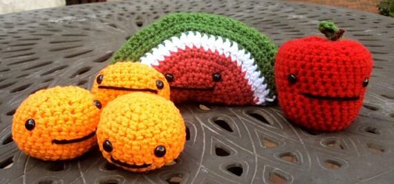 Items similar to Crocheted Play Food Set - Amigurumi Fruit ...