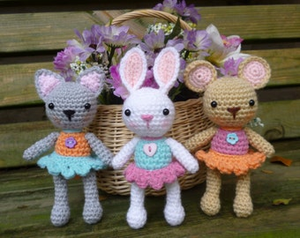 Pocket  Pets Crochet Pattern, Baby Mouse, Rabbit and Cat.