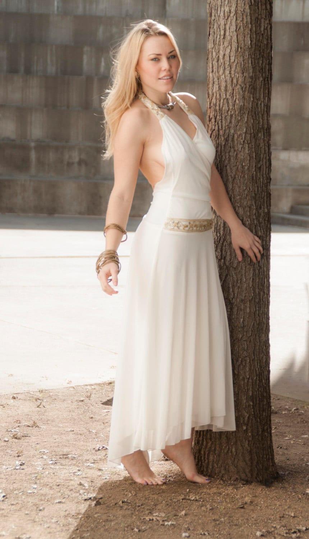 Vintage white boho wedding dress greek goddess halter gold for Greek goddess wedding dresses