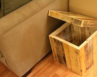 Reclaimed pallet wood storage ottoman, natural, handmade, rustic furniture