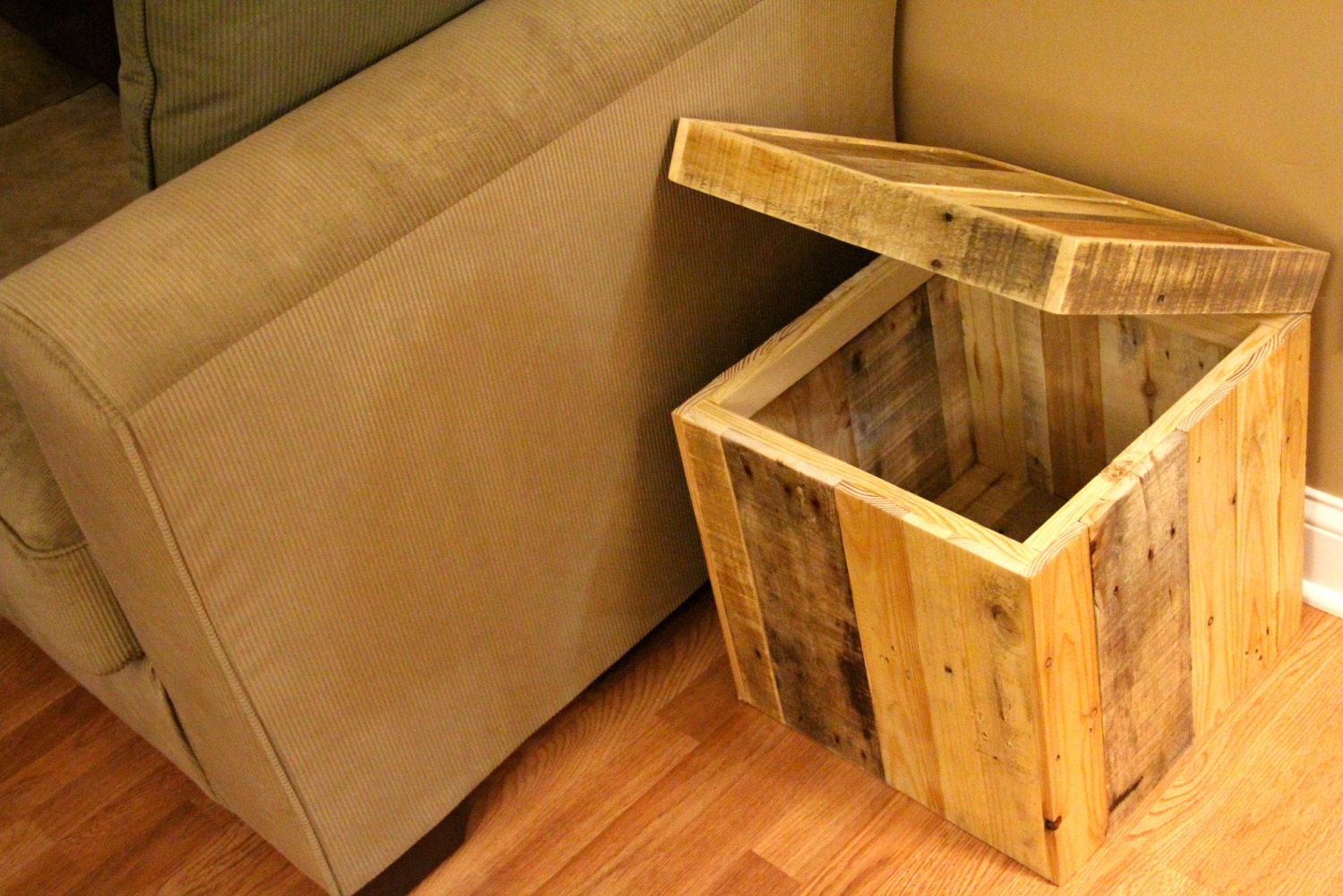 Wooden Ottoman With Storage Designs ~ Reclaimed pallet wood storage ottoman natural handmade
