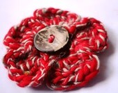 Flower Brooch: red and brown crocheted flower brooch with coconut button, handspun yarn