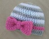 Newborn Hat with Bow, Newborn Photo Prop Hat, Baby Girl Hat with Bow