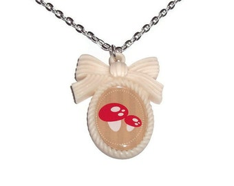 Mushroom Cameo Necklace, Kawaii Woodland Cream Pendant