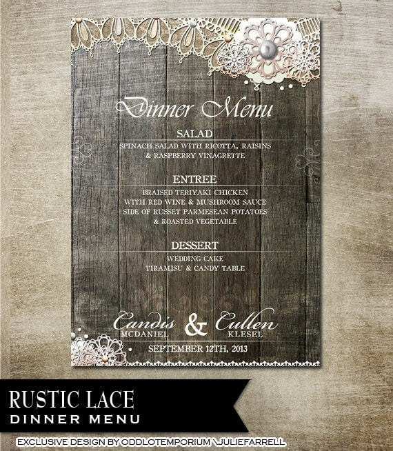 Rustic Lace Wedding Menu DIY Printable Wedding Stationery Burlap lace and vintage elements Country Rustic Wedding Invitation Rustic Invite
