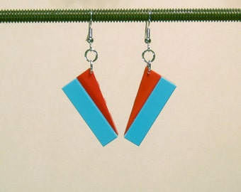 Angular turquoise and red earrings with silver plated ear wires
