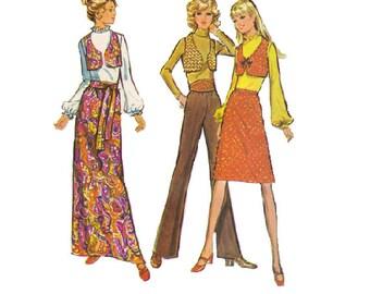 Retro Sewing Pattern McCall's 1970s Wide Leg Pants Waist Sash Maxi Midi Skirt Cropped Vest Bust 38