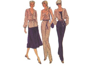 Vogue 7368 Sewing Pattern Fashion 80s Camisole Tapered Leg Pants Flared Skirt Loose Fit Button Front Jacket Blouse Boho Style Bust 32