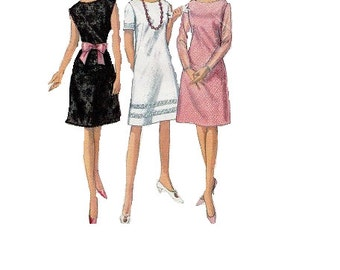Basic Sheath Cocktail Dress Simplicity 60s Sewing Pattern 5953 Button Front Mad Men Style Fashion Retro Casual A-line Bust 31
