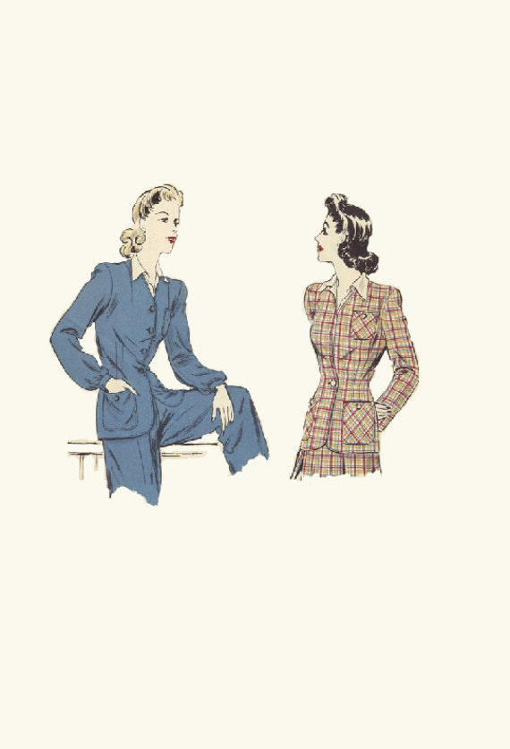 Vogue Sewing Pattern 1940s Misses Easy To Make Jacket Light Coat Blazer Overcoat Collarless Button Front Bust 34