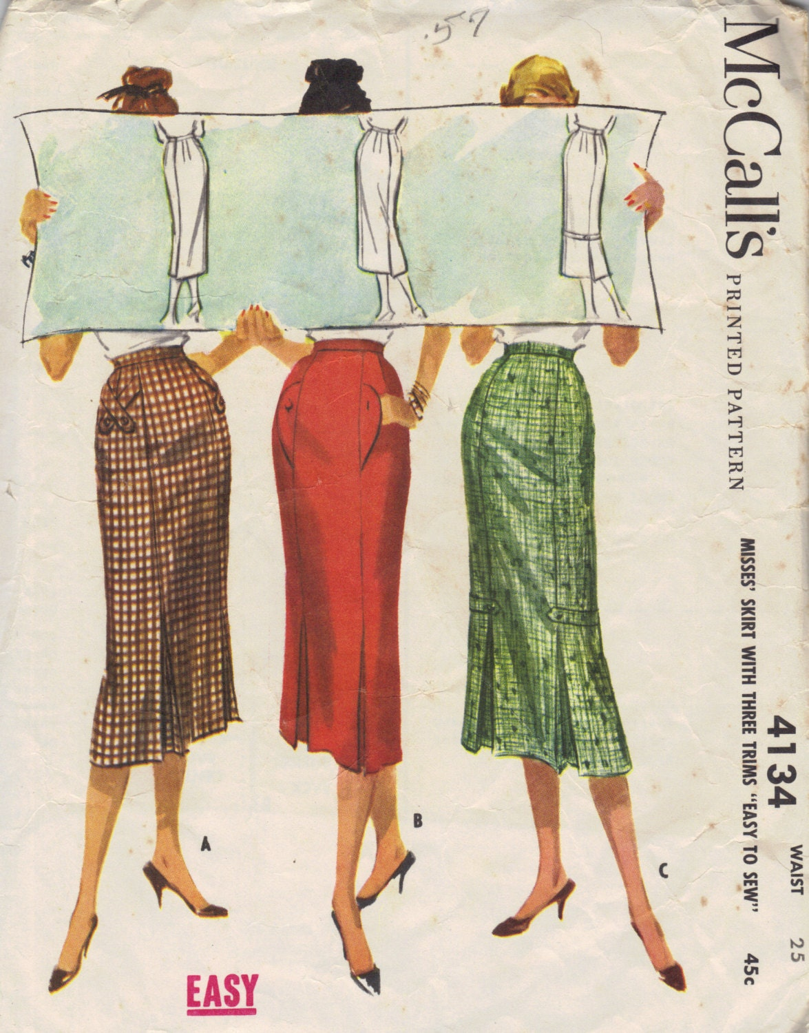 mccall s 50s sewing pattern wiggle skirt pencil skirt