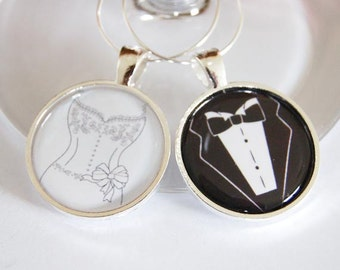 Bride Groom, Wedding Wine Charms, Wine Charms, barware, wedding reception, black, white, silver plate, bride groom charms (2290)
