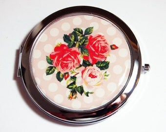 Rose compact mirror, mirror, pocket mirror, Mothers day gift, polka dot, compact mirror, roses, floral mirror (2428)