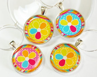 Flower Wine Charm, Wine Glass Charms, Wine Charms, barware, entertaining, table setting, Flowers, Floral, Bright Colors, Pink, Blue (2633)