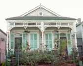 New Orleans Photograph, French Quarter, NOLA, Louisiana, House with Seafoam Green Shutters - 8x10 fine art photograph - pixamatic