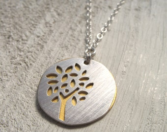 summer tree silhouette necklace - brushed silver with gold background
