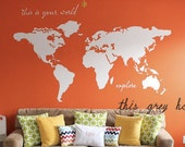 "Large World Map Wall Decal - ""this is your world - explore"" - 7 ft wide decal - nursery decor - apartment therapy nursery Kyler's playroom"