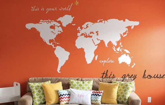 large world map wall decal this is your world by lulukuku. Black Bedroom Furniture Sets. Home Design Ideas