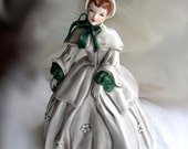 Abigail - lovely victorian lady porcelain figurine with gray and green gown by Florence Ceramics mis- signed Abigal