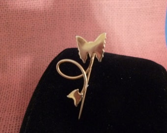 Double Butterfly gold Hat pin