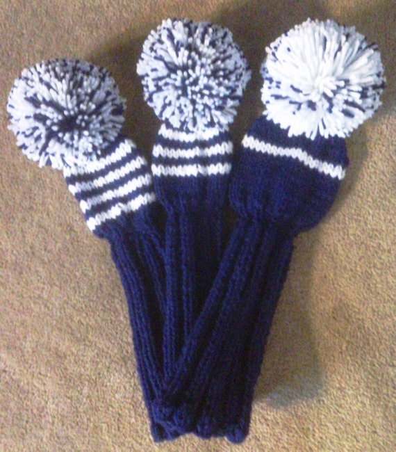 Knitting Pattern Golf Driver Cover : Golf Club Head Covers Hand Knit
