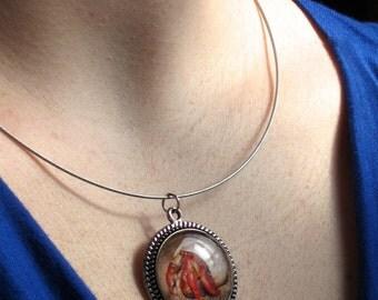 Hermit Crab - Round Pendant Necklace