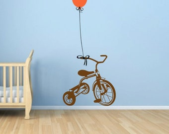 Kids Room Stickers, Tricycle Vinyl wall Decal, Decoration For Kids Room, Play Room, Baby Room, Nursery, Tricycle With Balloon - ID270