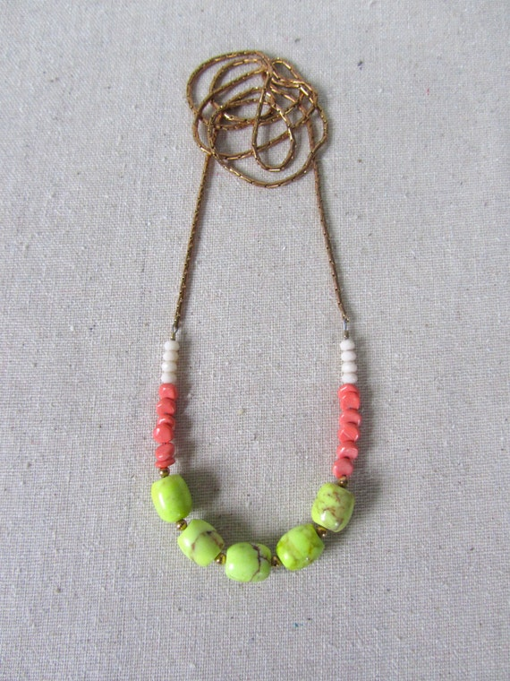 Neon Statement Necklace, Chartreuse & Coral, Solid Brass Chain, Long Necklace