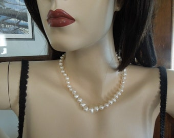 "18"" Strand Genuine 7-8mm White Baroque Pearls with Gold over Sterling Clasp Wedding Pearls"