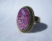 Oval Nail Polish Ring - Magenta With Pastel Pink, Purple And Blue Hexes And Iridescent Micro Glitter Sparkles, Easter