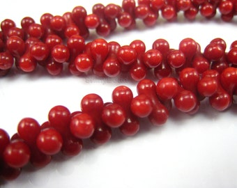 red coral bone bead 9mm 15 inch strand