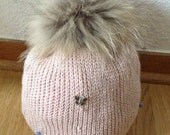 """knitted cap , beanie """"star hiver """" with rhinestones ,charms and real fur (fox)"""
