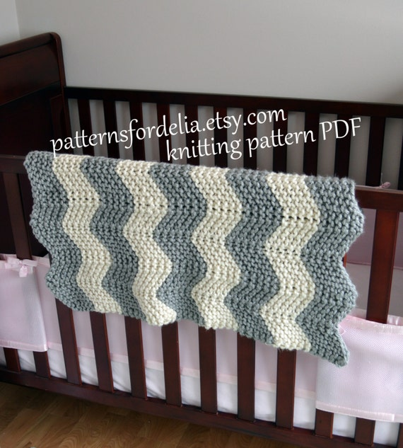 Chunky Chevron Baby Blanket KNITTING PATTERN easy beginner zig