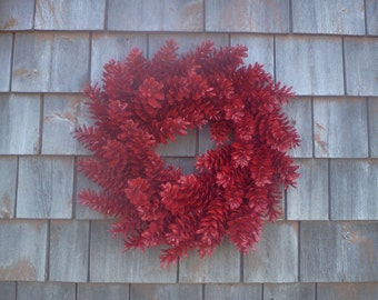 Pinecone Wreath - Red or Customize Your Colors! 19'' Perfect for Christmas1