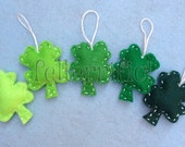 1 Dozen Handmade Felt Mini Shamrock Ornaments