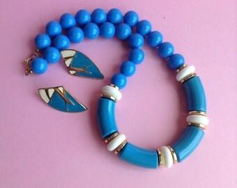 80s Turquoise Necklace & Earrings, plastic white, turquoise, goldtone beads, enamel pierced earrings, original, disco, egst, Greece