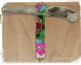 Colorful Fabric Bracelet - Cloth and Resin Jewlery