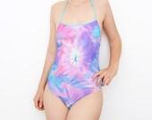 Vintage pastel watercolor purple one piece swimsuit